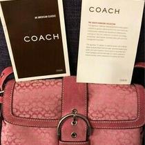 Nwot Authentic Coach Pink Signature Fabric Purse/handbag Small Soho Photo
