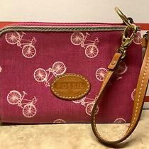 Nwot Authentic Fossil Bicycle Collection Coated Clutch Wristlet (Pink) Photo