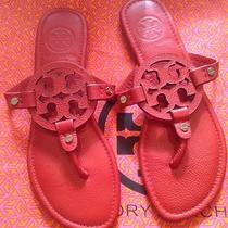 Nwot Authentic Tory Burch Red Pebbled Leather Miller Sandals Size 9 Photo