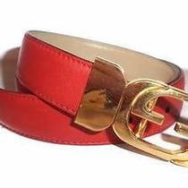 Nwot Authentic Vtg Gucci Women's Red Leather Logo Buckle Belt 036-0901-1121 Photo