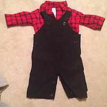 Nwot Baby Boy Christmas Red Flannel and Overalls Photo