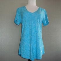 Nwot Bally Short Sleeve Top  T- Shirt Workout Top v-Neck Turquoise Blue Sz L Photo