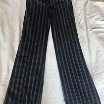 Nwot Bcbg Maxazria Camilla Wide Leg Blue Gray Pinstriped Cotton Pants Sz 4 Photo