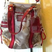 Nwot Beautiful Coach Purse Red Patton Trim Perfect Condition Photo