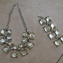 Nwot Bebe Chunky Rhinestone Statement Necklace & Bracelet Set Dress Jewelry Rare Photo
