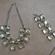 Nwot Bebe Chunky Rhinestone Statement Necklace & Bracelet Set Dress Jewelry Rare Photo