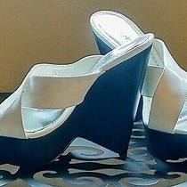 Nwot Bebe Size 9 White Patent Appearance Heeled Platform Wedges Photo