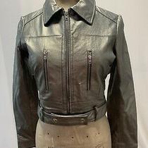 Nwot Bebe. Women's Metallic Genuine Leather Moto Jacket. Sz. Xs Photo
