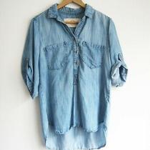 Nwot Bella Dahl 100% Tencel Roll Tab Sleeve Chambray Popover Shirt Size M Photo