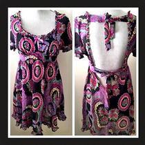 Nwot Betsey Johnson Multi Color Mini Scoop Neck Floral/paisley Tunic/dress L Photo