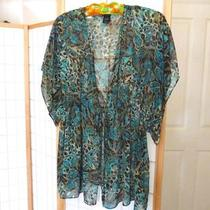 Nwot Bisou Bisou Jungle Brown Aqua Ecru Sheer Chiffon Tie Waist Overblouse Xl Photo