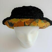 Nwot Black Curly Lamb With Reversible Print Bucket Hat One Size Retail 195  Photo