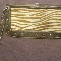 Nwot Brighton Piper Zebra Haircalf Wristlet Handbag Wallet Photo