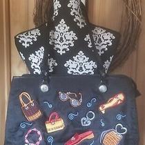 Nwot Brighton Tote Handbag Purse Black Fabric Multicolor Shoes Glasses Accent  Photo