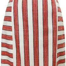 Nwot Brooks Brothers Red Fleece Striped Boucle Skirt Red/white Size 4 Us Photo