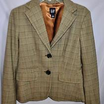 Nwot Brown Plaid Suit Jacket Blazer From the Gap Size 4  Photo