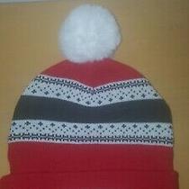 Nwot Burton Stoli Womens Red and White Beanie Hat With Pom Pom Photo