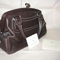 Nwot Celine Brown Leather Hinge Opening Satchel  Photo