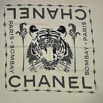 Nwot Chanel Scarf Off White W Tiger Pattern Photo