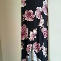 Nwot Charlotte Russe Juniors Black Pink Floral Open Front Long Skirt Size Xs Photo