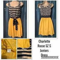 Nwot Charlotte Russe Sz S Juniors Navy & White Stripe Top and Yellow Skirt Dress Photo