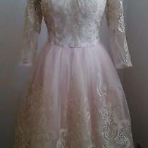 Nwot Chi Chi Pink /gold Lace Dress-Modcloth Gilded Grace Dress in Blush Us 6 Photo
