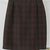 Nwot Christy Girl Green Red Woven Rayon Polyester Short Pencil Skirt Women 6 Photo