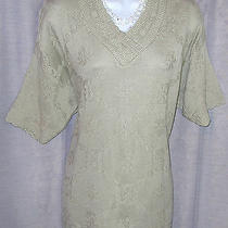 Nwot Classic Elements Med 44 Bust Light Green Knit Stitch Trim Acrylic Sweater Photo