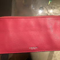 Nwot Coach Accessory Case Pencil Pink Fushia Leather Embossed Coach Slicer Pouch Photo