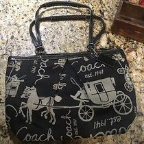 Nwot Coach Black Horse Carriage Pleated Tote Handbag F14482 Photo