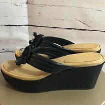 Nwot Coach Black Jainis Sequin Wedge Sandals Photo