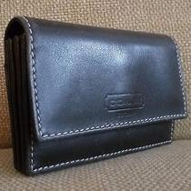 Nwot Coach Black Leather Accordian-Style Multi Business Credit Card Id Case -  Photo