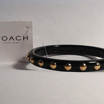 Nwot Coach Bracelet and Earrings Phoebe Nailhead  1/3 Black Band F94152 Photo