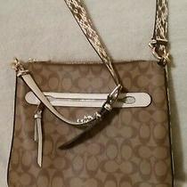 Nwot Coach Exotic Snake Skin Signature Crossbody Messenger Bag Photo