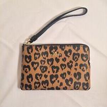 Nwot Coach F23620 Wild Heart Leopard Coated Canvas Zippered Wristlet 6.5l/4.2w Photo