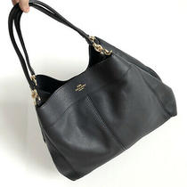 Nwot Coach Large Lexy Shoulder Bag in Navy Blue Leather (Style F27593) Photo