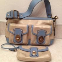 Nwot Coach Legacy Satchel in Taupe/baby Blue Leather With Matching Wrislet Photo