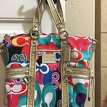 Nwot Coach Multicolor Handbag With Matching Wallet Photo