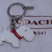 Nwot Coach Patent Leather Scottie Dog Puppy Key Chain Fob Ring 92324 Photo