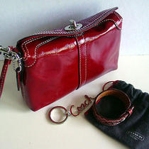Nwot Coach Red Crinkled Patent Leather Wristlet/coach Bracelet & Key Chain/charm Photo