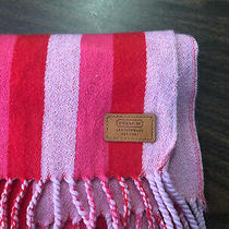 Nwot Coach Reversible Signature Striped Pink Red Print Muffler Scarf - Adorable Photo
