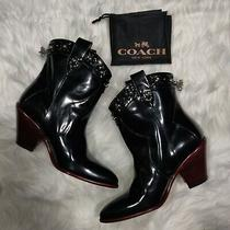Nwot Coach Western Black Booties Size 9.5b With Carry Bag Photo