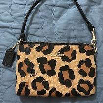 Nwot Coach Wristlet Animal Leopard Print Brown Camel Black Spotted Bag Clutch Photo