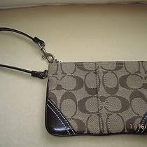 Nwot Coach Wristlet- Brown With Brown Leather Trim  Photo