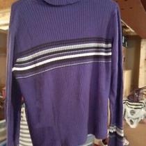 Nwot Crazy Horse Liz Claiborne Purple Striped Pullover Turtleneck Sweater Sz S Photo