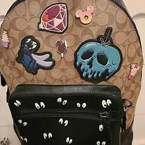 Nwot Disney Coach Signature Backpack Black Tan Disney Patches Spooky Eye F72954 Photo