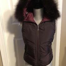 Nwot Dkny Down Bomber Vest Detachable Fox Fur Hood Reversable Xs Burgundy Photo