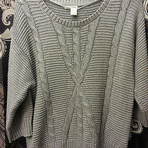 Nwot Dkny Gray Cable Knit Sweater - Large Photo