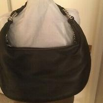 Nwot Donald J Pliner Dark Brown Leather Hobo With Silver Stud Detail. Photo