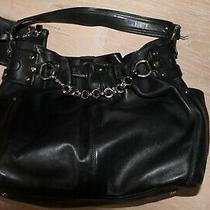 Nwot Donald J Pliner Heavy Black Leather Silver Haradware Hobo Boho Purse  Photo